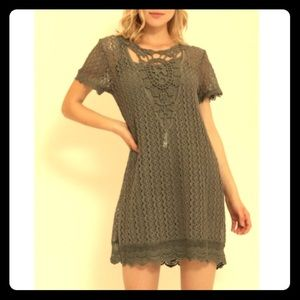 LAST ONE! Adorable Grey/Olive Crochet Dress